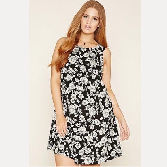 Forever 21 Black Floral Dress Plus Size 2X